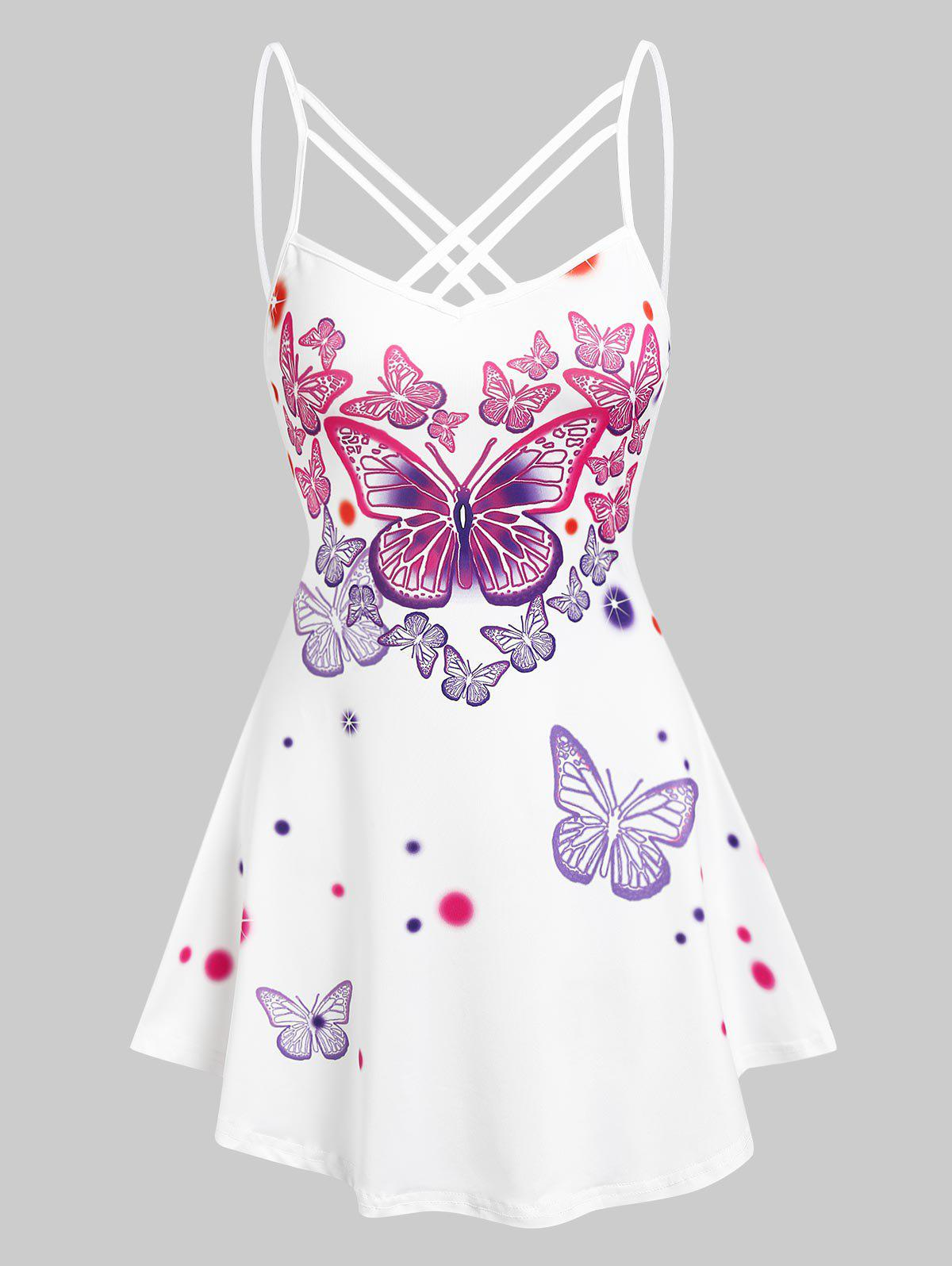 Outfits Strappy Butterflies Printed Cami Tank Top