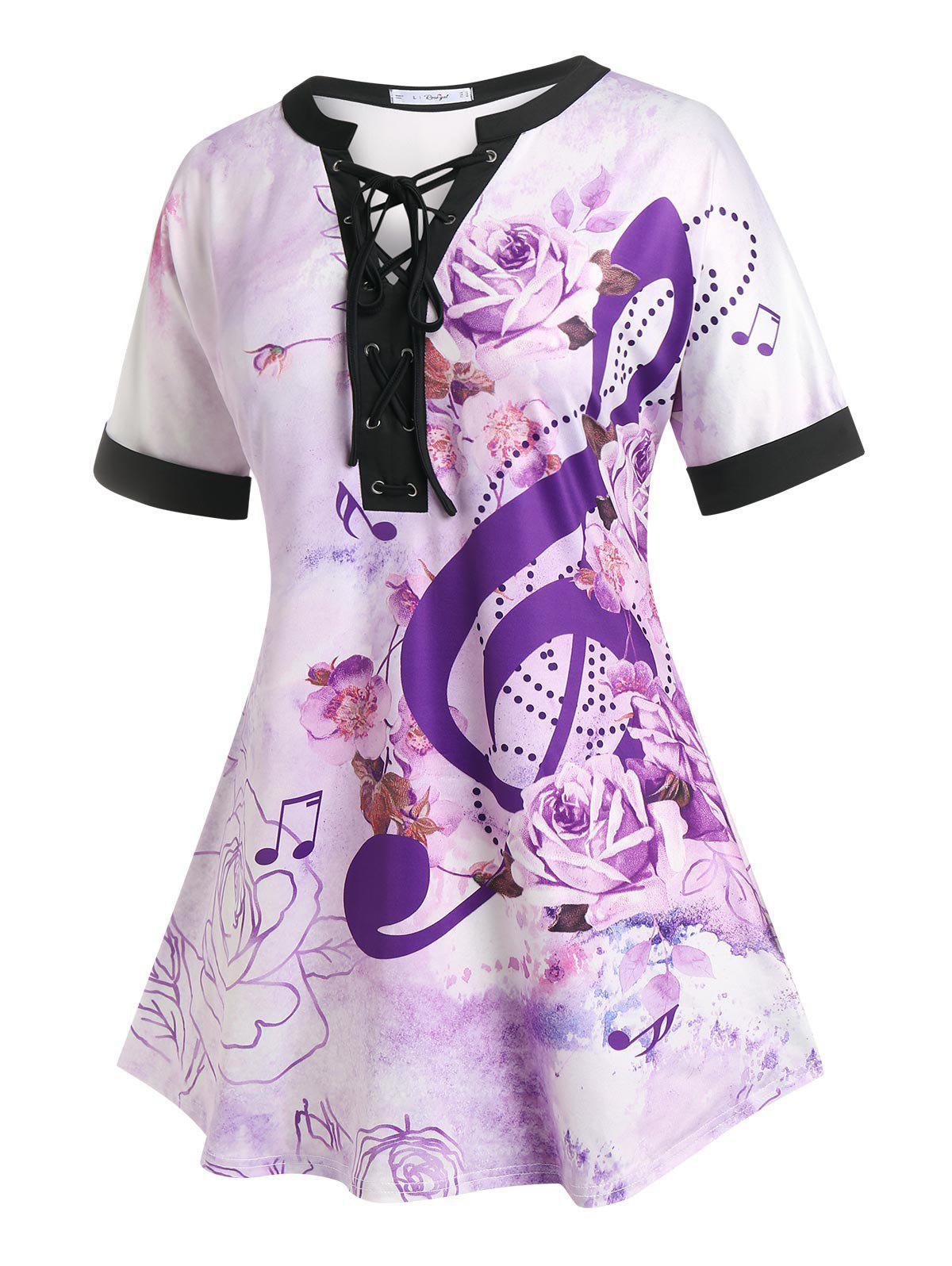 Fashion Plus Size Flower Lace-up Musical Notes Cuffed Sleeve Tee