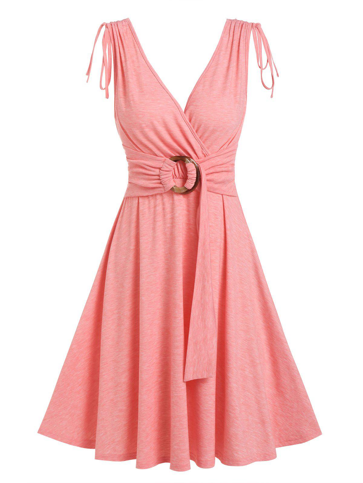 New O Ring Cinched Shoulders A Line Dress