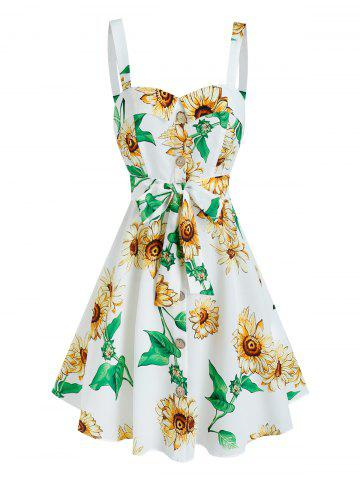 Sleeveless Sunflower Print Mock Button Belted Dress