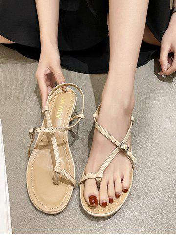Strappy Chunky Heel Thong Sandals