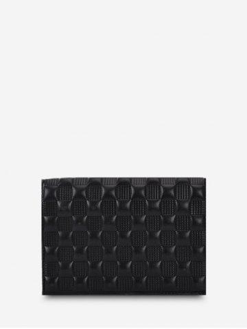 Solid Checked Textured Chain Crossbody Bag - BLACK