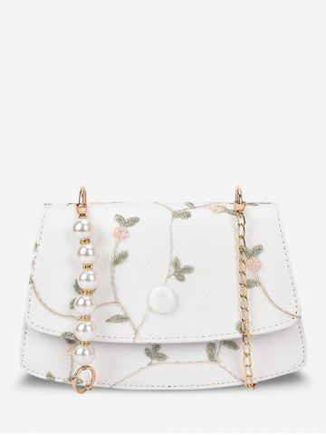 Embroidery Flower Lace Faux Pearl Crossbody Bag