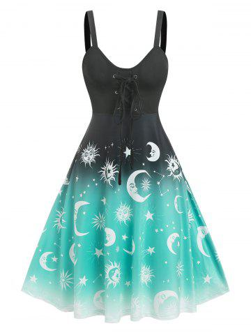 Lace Up Ombre Sun And Moon Print Dress