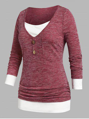 Plus Size Ruched Faux Twinset Ribbed Tee - DEEP RED - 2X
