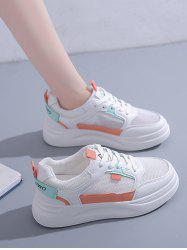 Colorblock Lace-Up Mesh Sneakers -