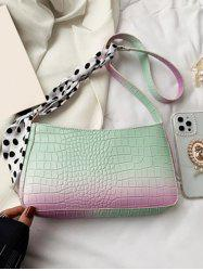 Scarf-Wrapped Embossed Ombre Crossbody Bag -