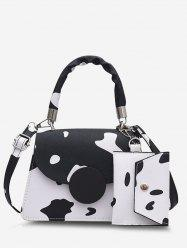 Cow Print Crossbody Bag With Pouch -