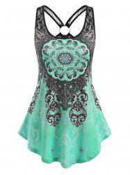 Printed Ring Lace Panel Tank Top -
