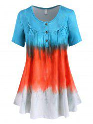 Plus Size Ombre Tie Dye Placket Ruched Tunic Tee -