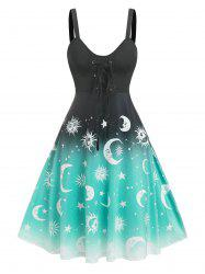 Lace Up Ombre Sun And Moon Print Dress -