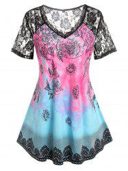 Plus Size Lace Sheer Panel Flower Short Sleeve Tee -