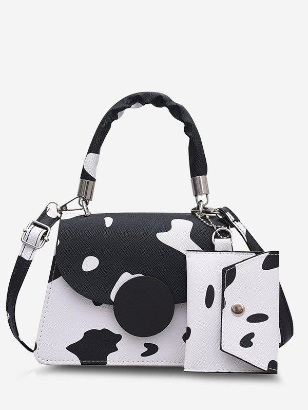 Fancy Cow Print Crossbody Bag With Pouch