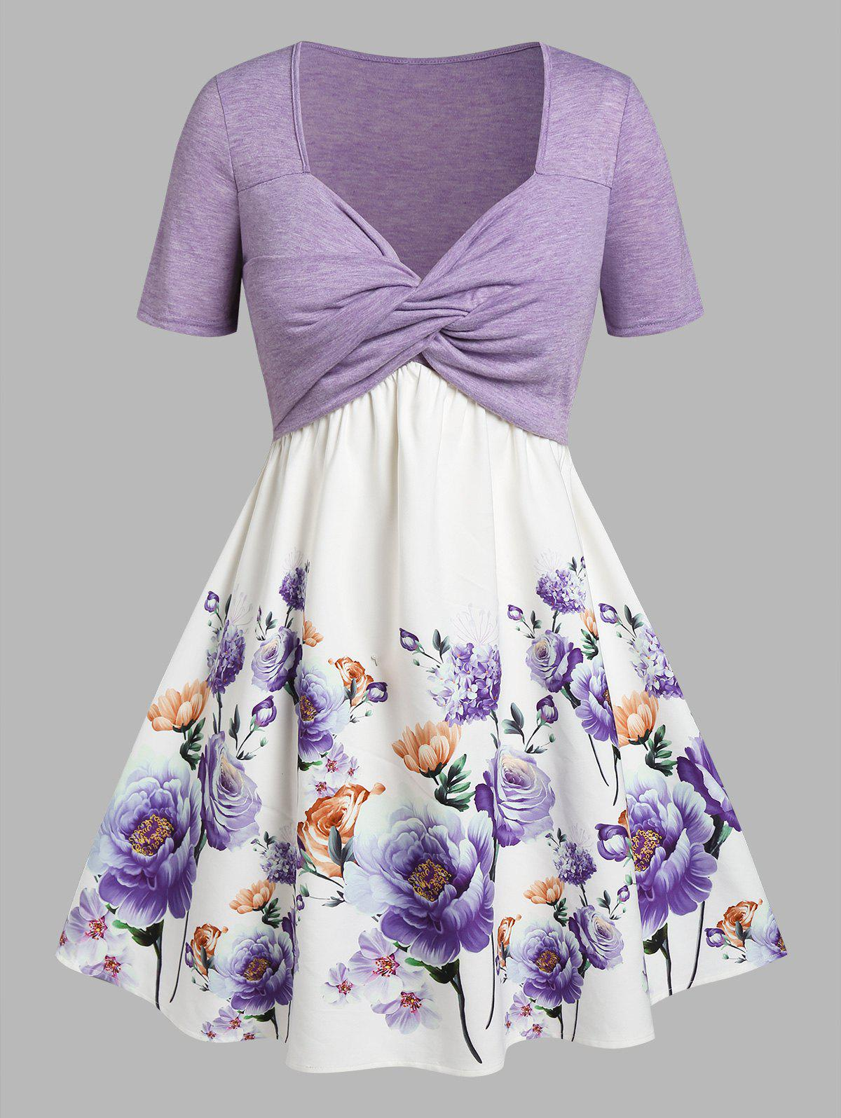 Outfits Plus Size Front Twist Floral Print Fit and Flare Dress