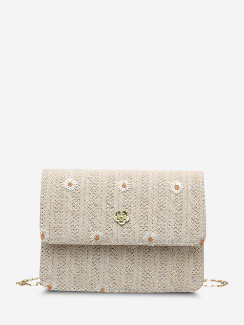 Fashion Embroidered Daisy Flower Crossbody Woven Bag