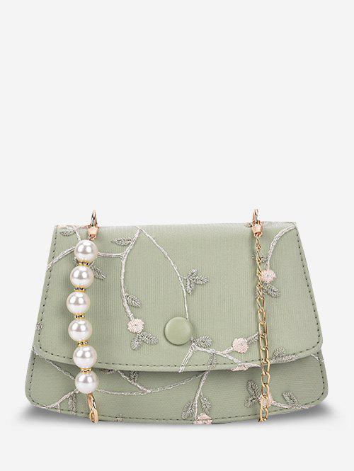 Shop Embroidery Flower Lace Faux Pearl Crossbody Bag