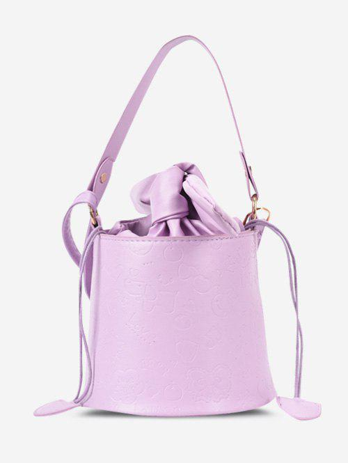 Outfit Embossed Drawstring Tied Bucket Bag