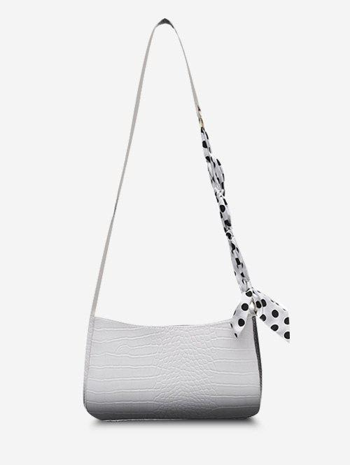 Fancy Scarf-Wrapped Embossed Ombre Crossbody Bag