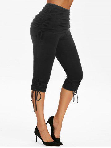 High Waist Ruched Cinched Cropped Pants - BLACK - L