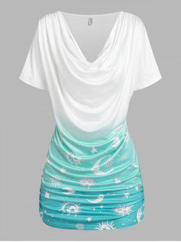 Sun Moon Star Print Ruched Ombre T-shirt