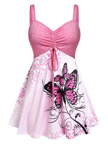 Plus Size Butterfly Skirted Backless Ruched Tank Top - LIGHT PINK - 1X