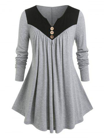 Plus Size Two Tone Notched Pleated T Shirt - LIGHT GRAY - 3X
