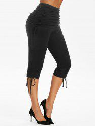 High Waist Ruched Cinched Cropped Pants -