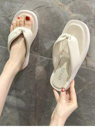 Square Toe Ruched Vamp Thong Slippers -