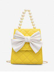Quilted Bowknot Faux Pearl Handle Crossbody Bag -
