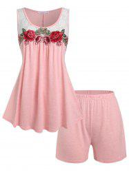 Plus Size Flower Embroidered Lace Panel PJ Shorts Set -