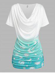 Sun Moon Star Print Ruched Ombre T-shirt -