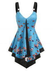 American Flag Butterfly Flowers Print Flare Tank Top -