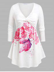Plus Size Floral Butterfly Print Front Twist Tee -