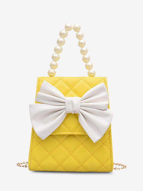 Sale Quilted Bowknot Faux Pearl Handle Crossbody Bag