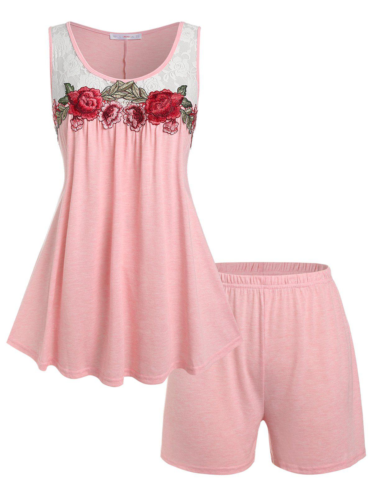 Store Plus Size Flower Embroidered Lace Panel PJ Shorts Set