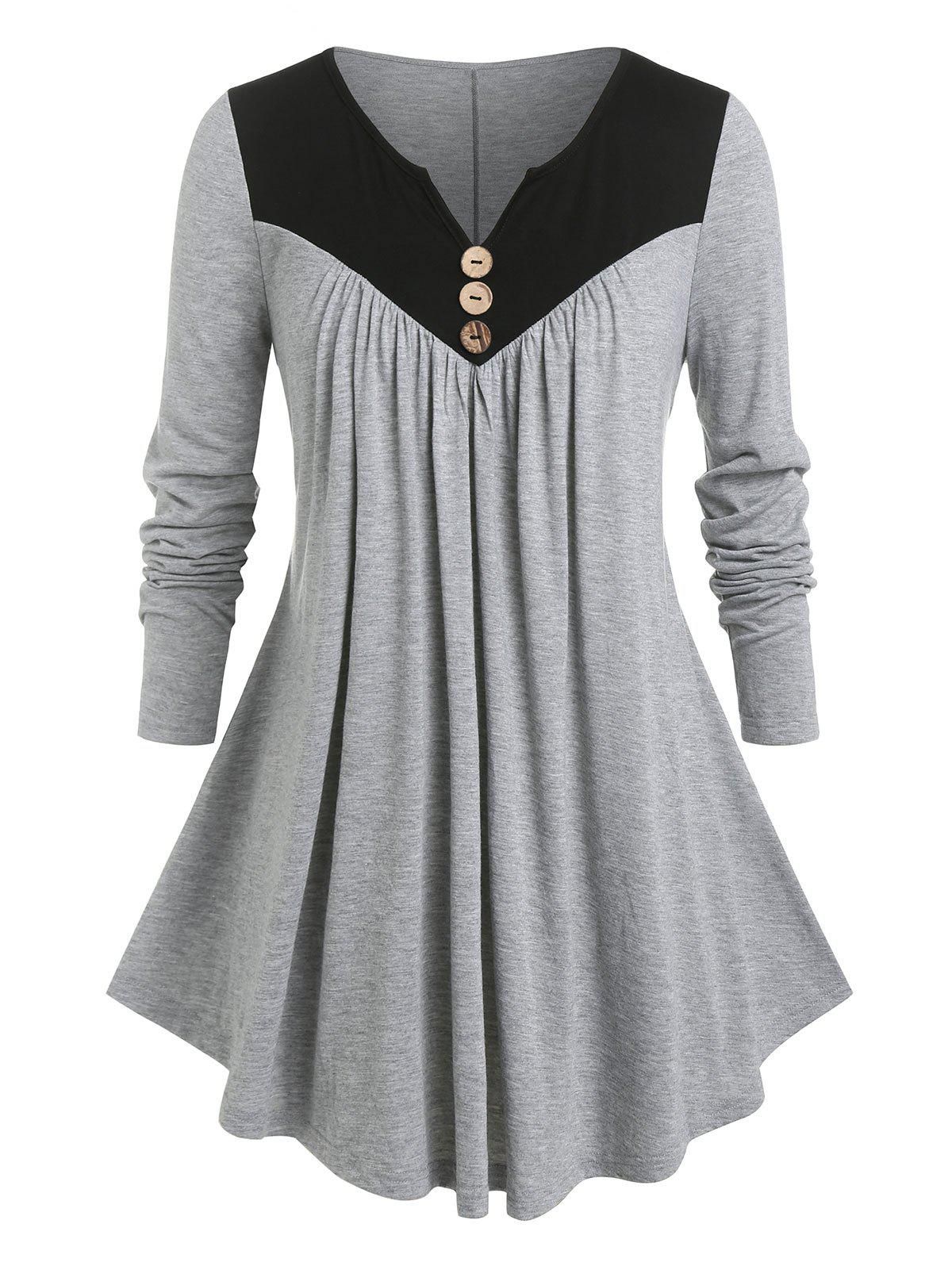 Buy Plus Size Two Tone Notched Pleated T Shirt