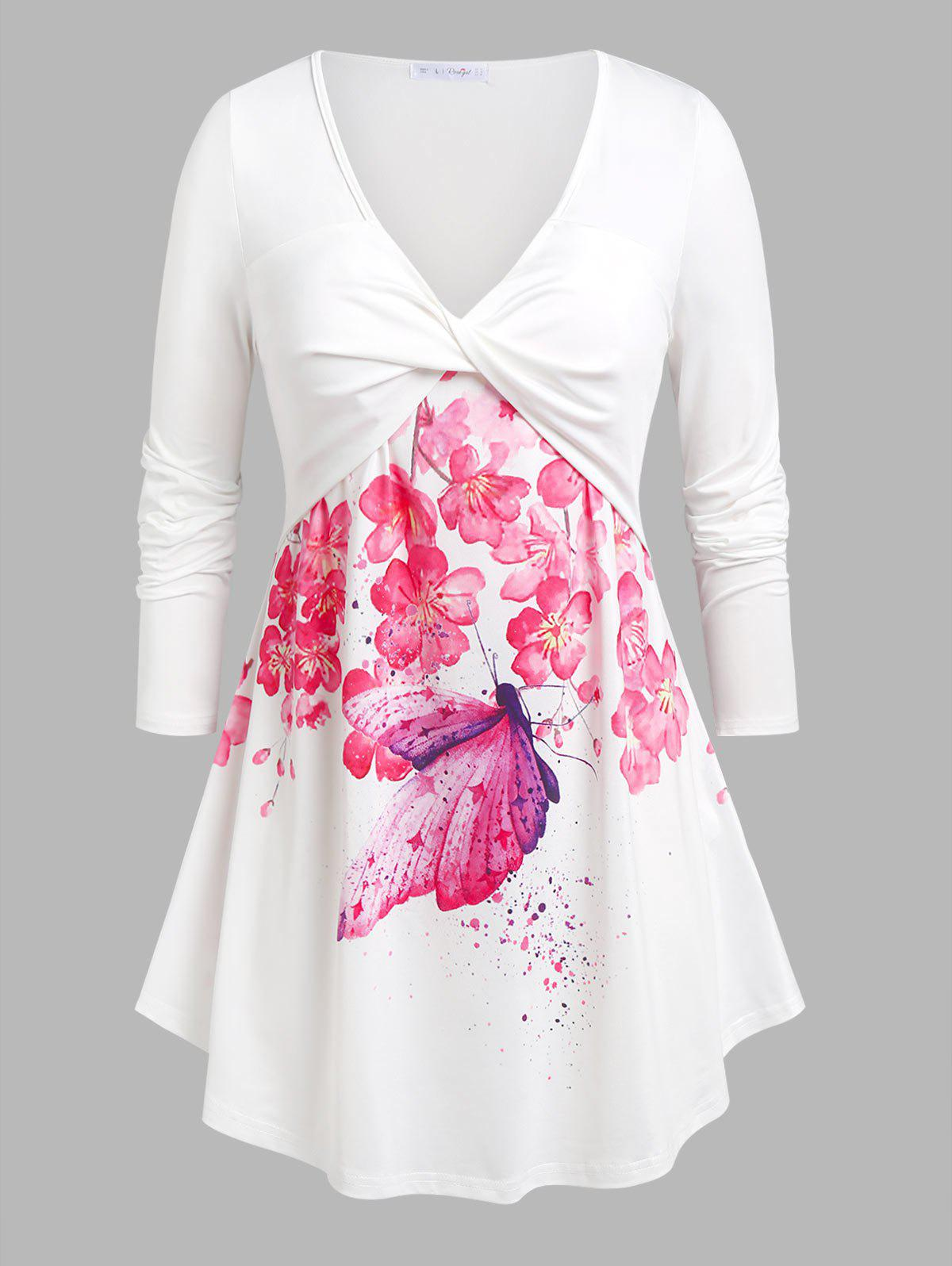 Outfits Plus Size Floral Butterfly Print Front Twist Tee