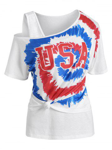 USA Graphic Tie Dye Skew Neck T Shirt with Tank Top