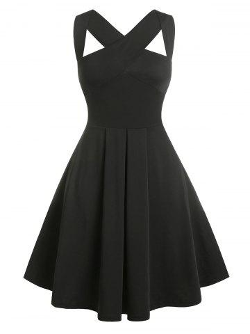 Vintage Sleeveless Cutout Fit and Flare Dress - BLACK - 4X
