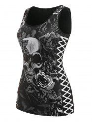Plus Size Skull Floral Print Gothic Tank Top -