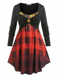Plus Size Ombre Plaid  O Ring Tee -
