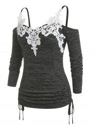 Plus Size Cold Shoulder Lace Panel Cinched Tee -