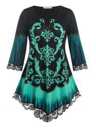 Plus Size Tribal Print V Notched Tee -