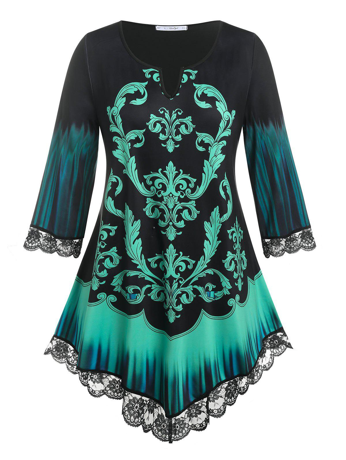 Buy Plus Size Tribal Print V Notched Tee