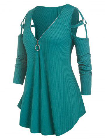 Plus Size Cold Shoulder O Ring Strappy Ribbed Tee