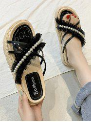 Faux Pearl Lace Strappy Slip-On Sandals -