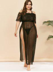 Plus Size Lace and Mesh Lingerie Gown -