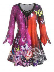 Plus Size Butterfly Floral Hanky Cuff Lace-up Tee -