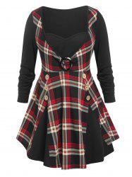 Plus Size Floral O Ring Plaid Insert Flare T Shirt -