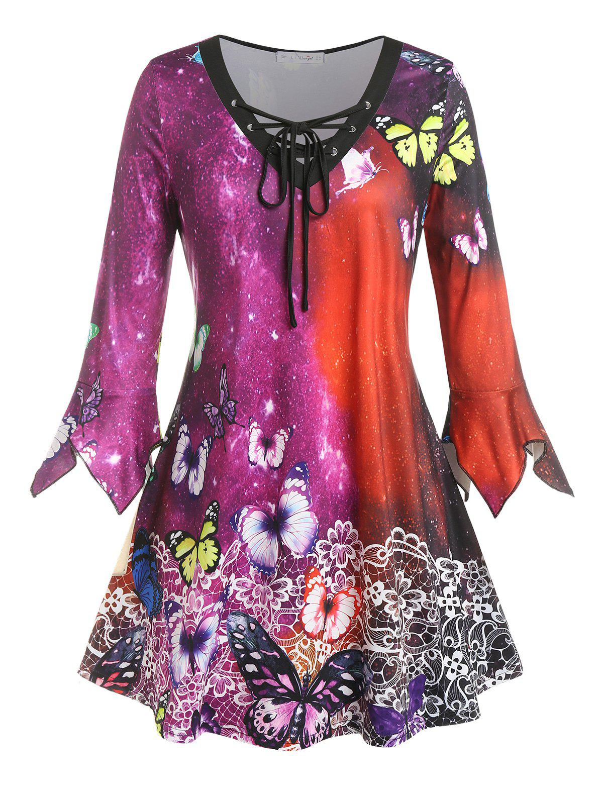 Fashion Plus Size Butterfly Floral Hanky Cuff Lace-up Tee